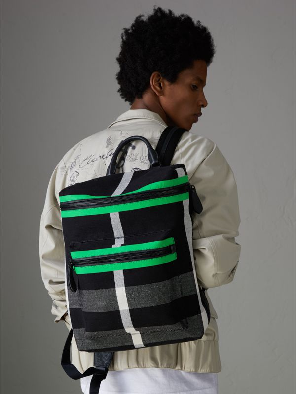Zip-top Leather Trim Canvas Check Backpack in Racing Green/black - Men | Burberry Canada - cell image 3