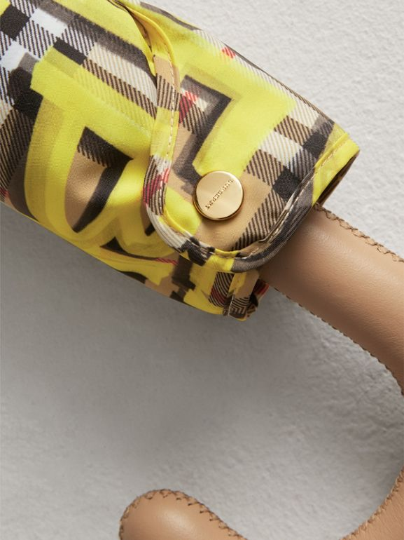Graffiti Vintage Check Print Folding Umbrella in Yellow | Burberry United States - cell image 1