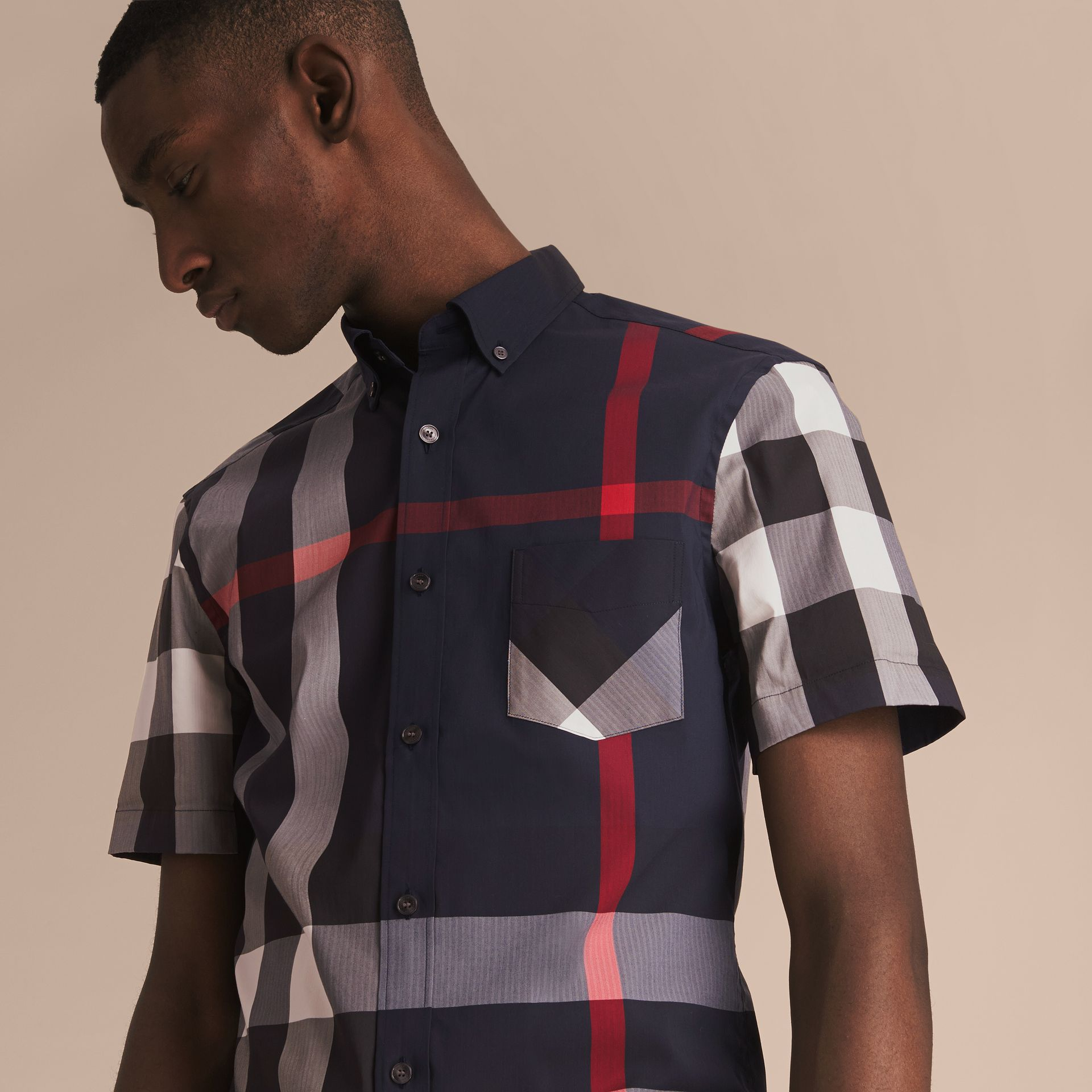 Short-sleeve Check Stretch Cotton Blend Shirt in Navy - gallery image 3
