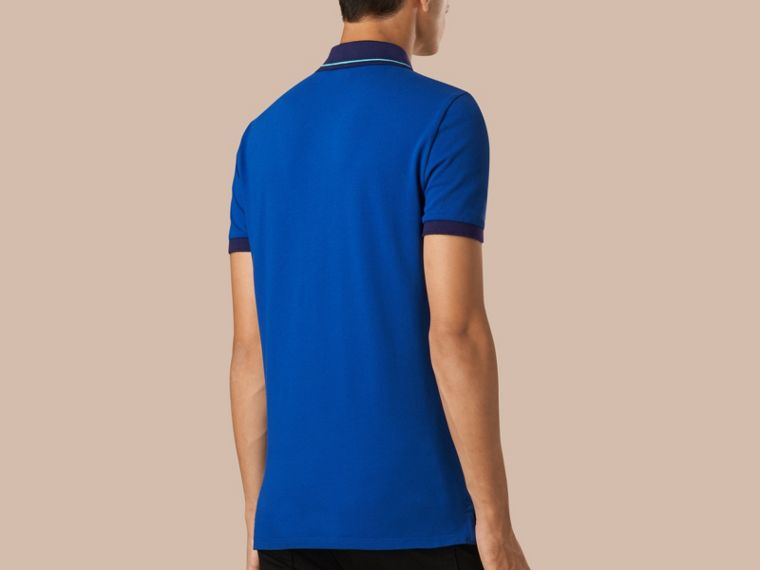 Cobalt/pale prediot blue Contrast Trim Cotton Piqué Polo Shirt Cobalt/pale Prediot Blue - cell image 1