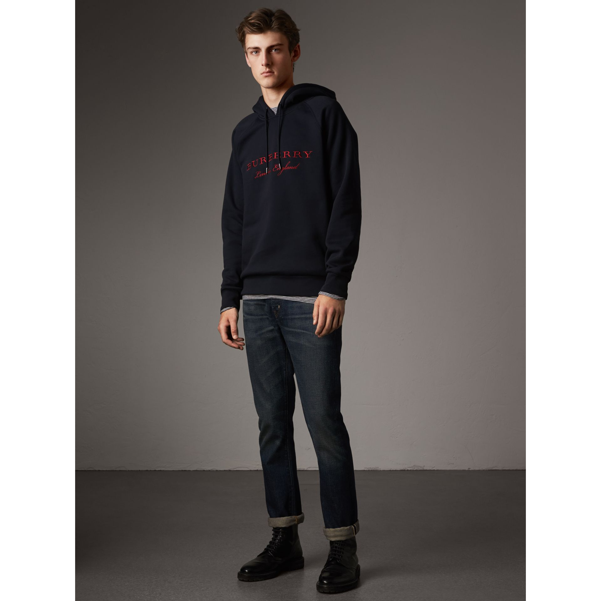 Embroidered Hooded Sweatshirt in Navy - Men | Burberry Canada - gallery image 1