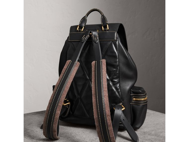 The Large Rucksack in Topstitched Leather in Black | Burberry - cell image 4