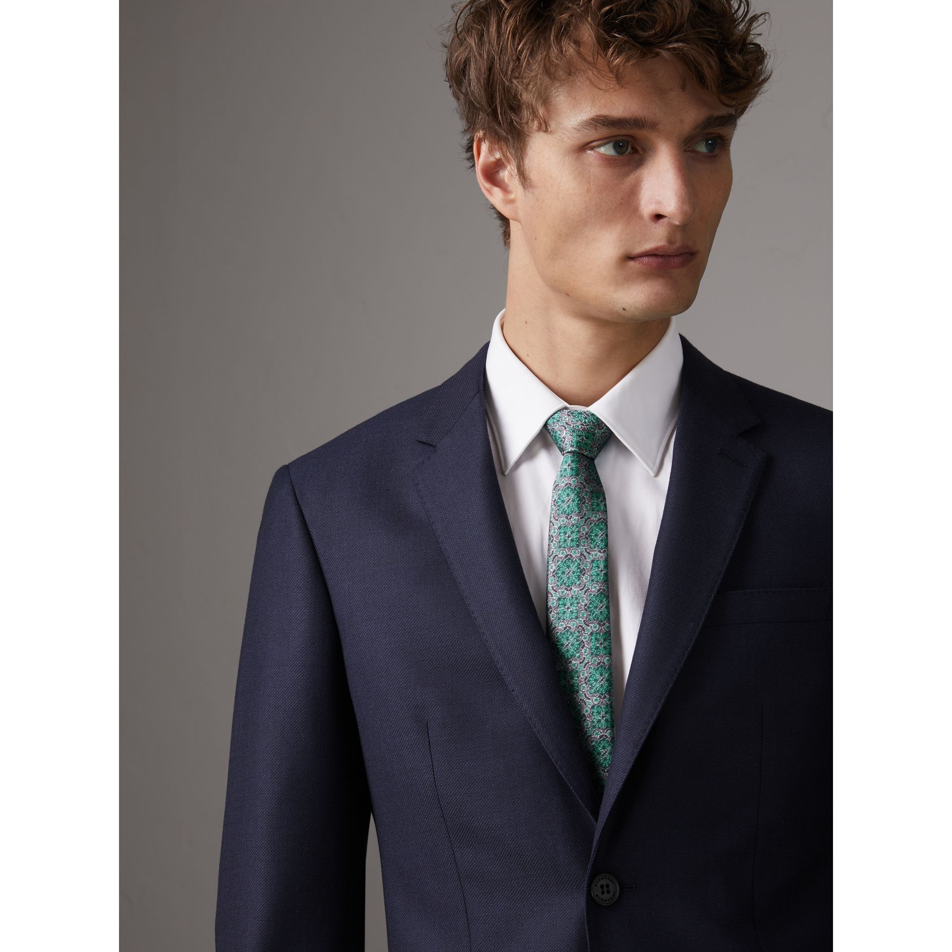 Slim Cut Silk Jacquard Tie in Turquoise - Men | Burberry Singapore - gallery image 3