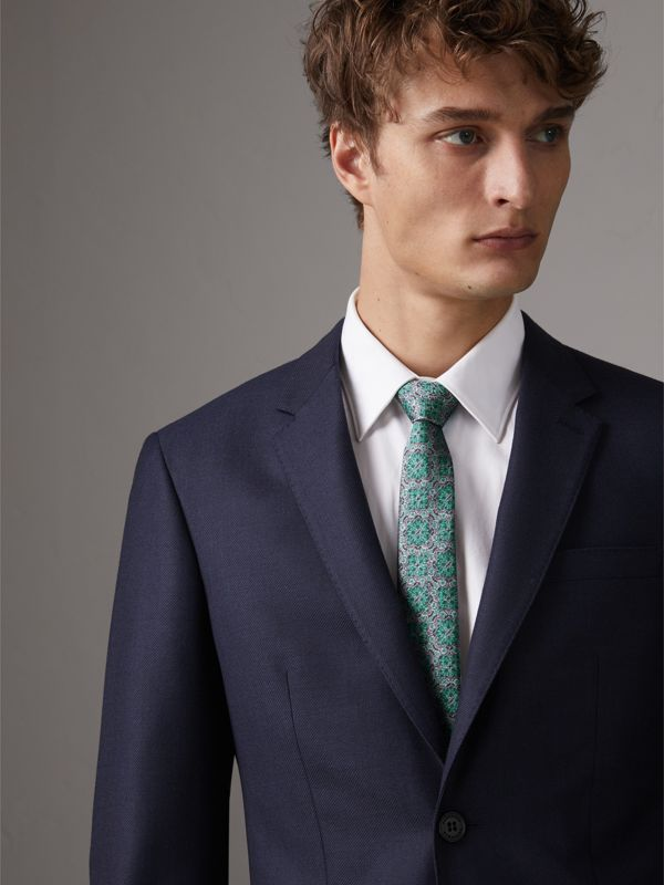 Slim Cut Silk Jacquard Tie in Turquoise - Men | Burberry United Kingdom - cell image 2