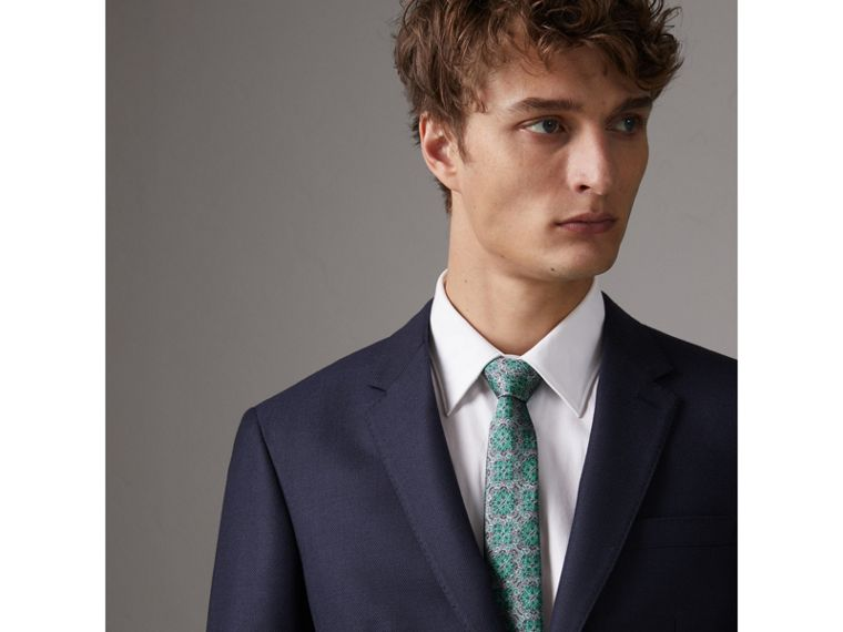 Slim Cut Silk Jacquard Tie in Turquoise - Men | Burberry - cell image 2