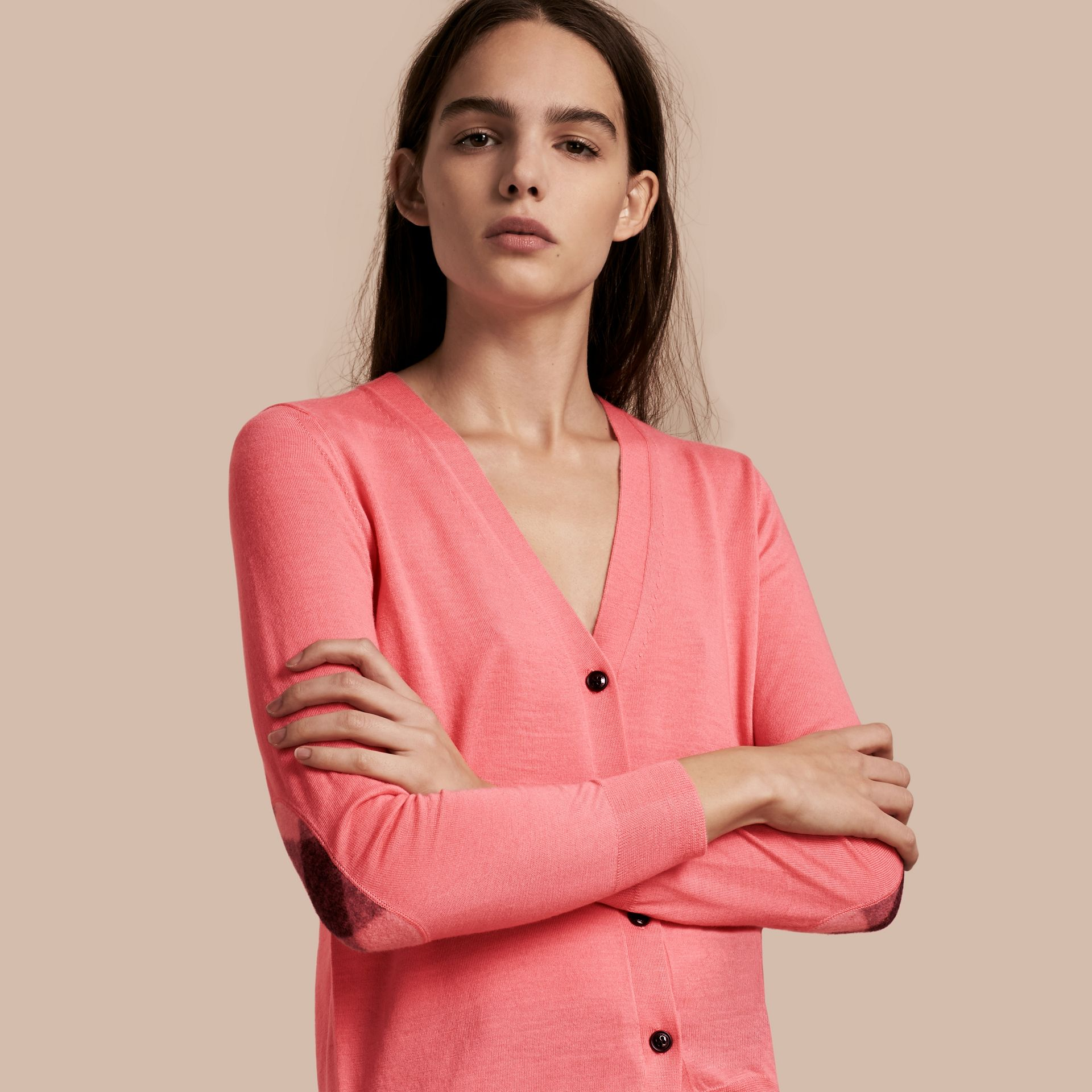 Check Detail Merino Wool Cardigan in Pale Rose Pink - gallery image 1