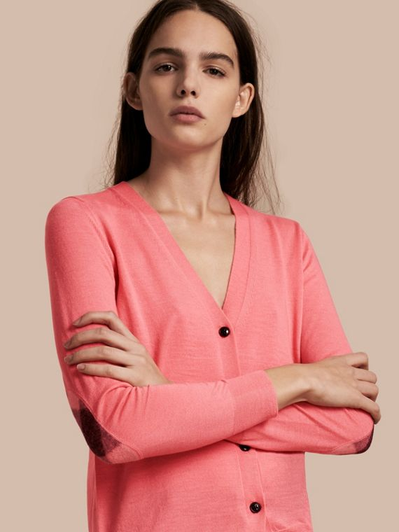 Check Detail Merino Wool Cardigan Pale Rose Pink