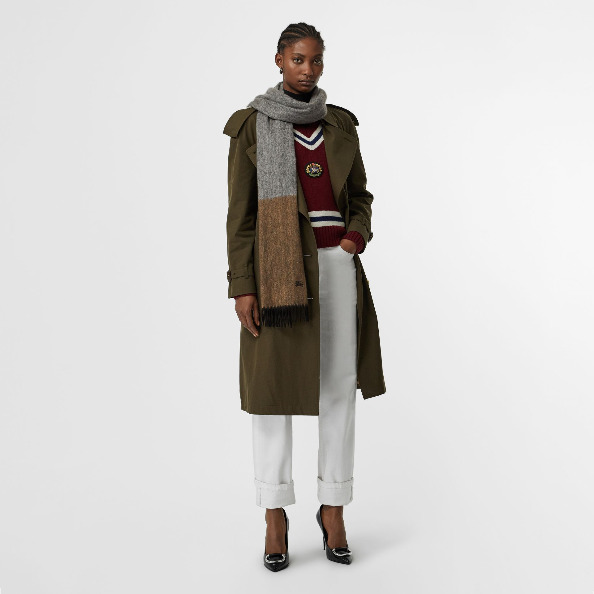 Colour Block Cashmere Scarf in Ivory | Burberry - gallery image 2