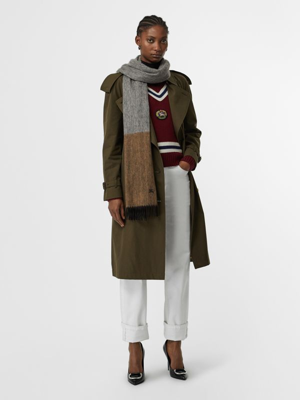 Colour Block Cashmere Scarf in Ivory | Burberry - cell image 2