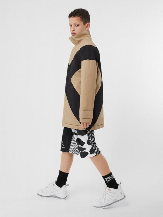 Jaqueta de algodão acolchoada com recortes (Mel)