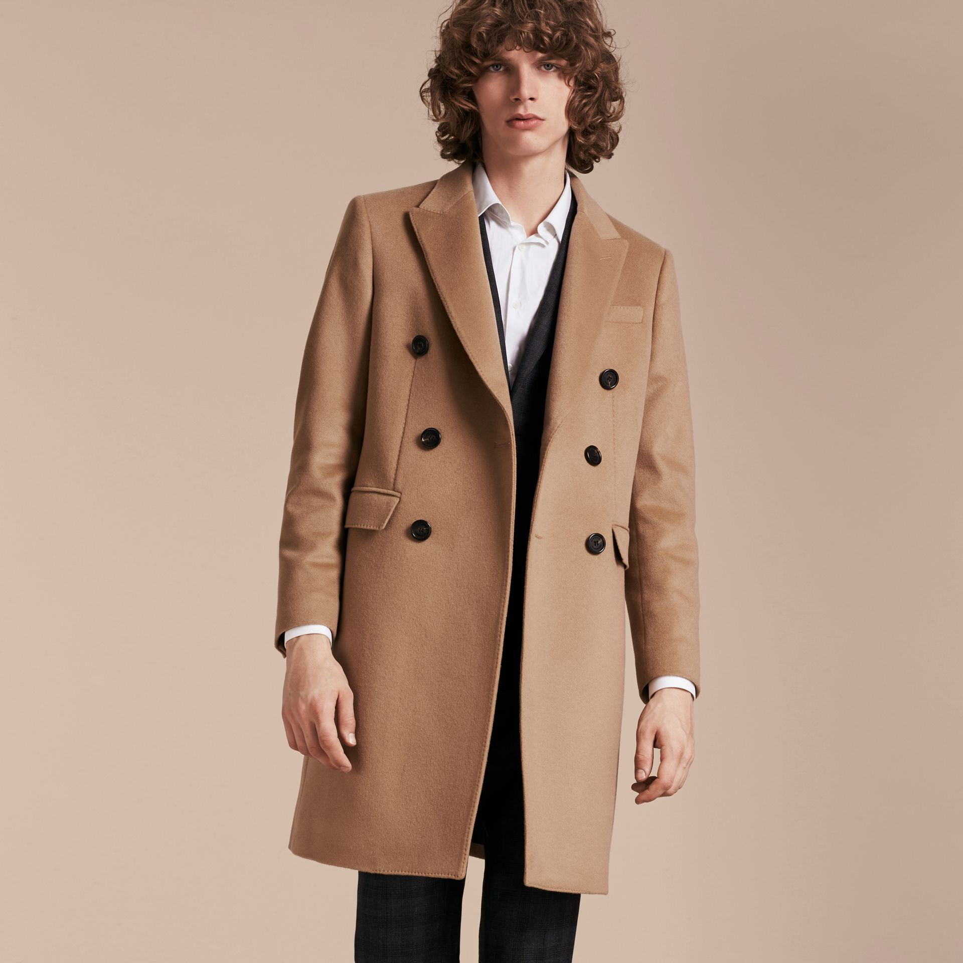 Camel Double-breasted Tailored Cashmere Coat - gallery image 8