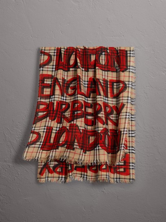 Graffiti Print Check Wool Silk Large Square Scarf in Bright Red