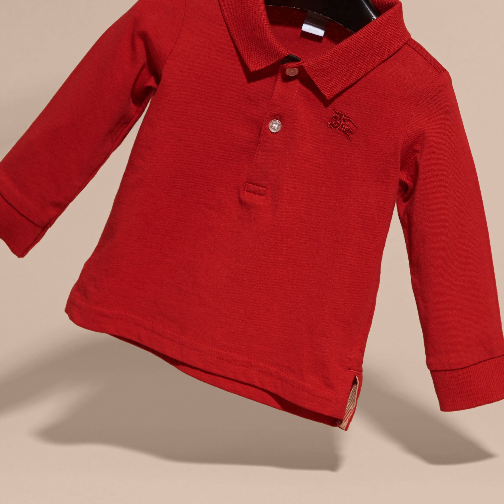 Check Trim Long-sleeved Cotton Polo Shirt in Military Red | Burberry - gallery image 3