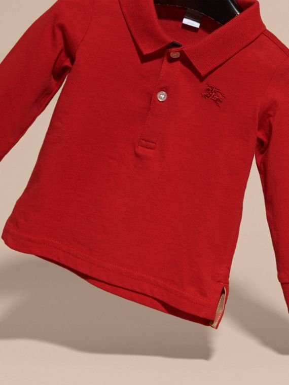 Check Trim Long-sleeved Cotton Polo Shirt in Military Red | Burberry - cell image 2