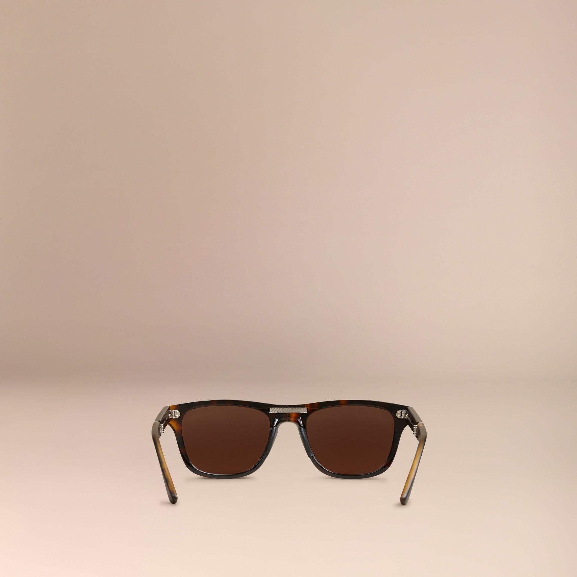 Marrone scuro Occhiali da sole con montatura rettangolare pieghevole Marrone Scuro - immagine della galleria 4