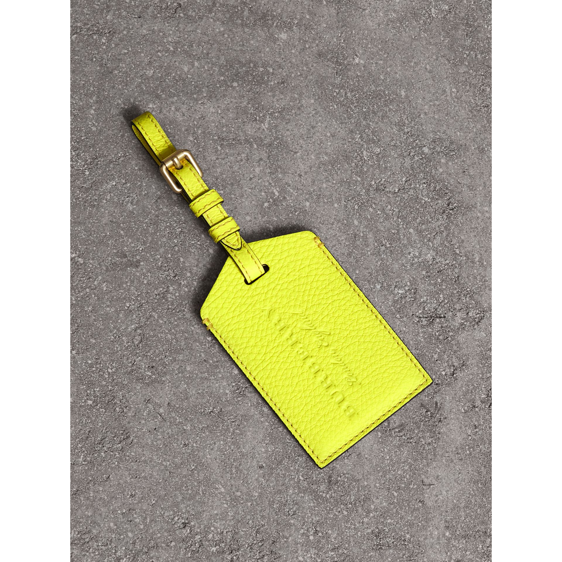 Embossed Leather Luggage Tag in Bright Yellow | Burberry Australia - gallery image 0