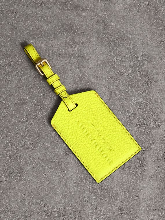 Embossed Leather Luggage Tag in Bright Yellow