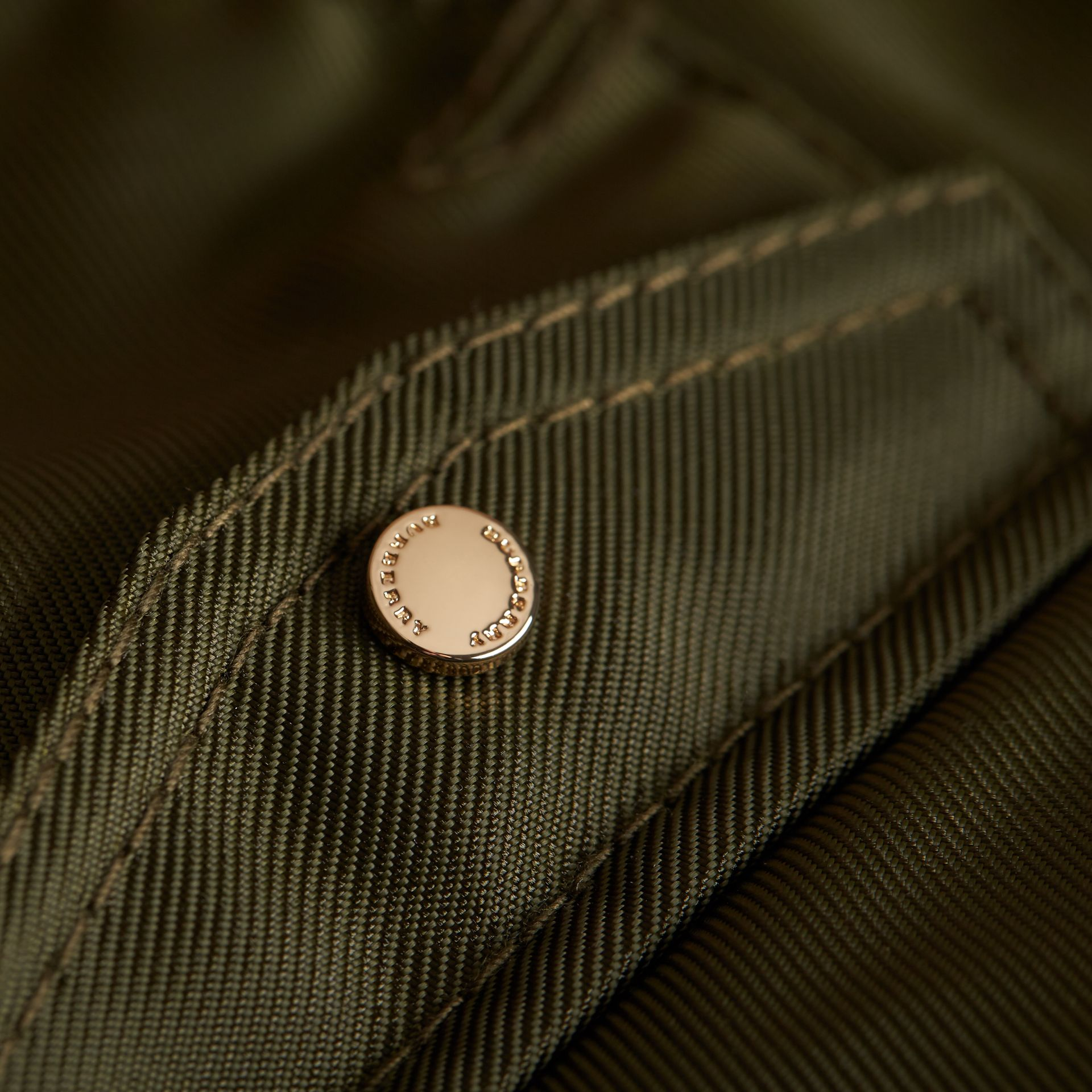 Hooded Technical Twill Bomber Jacket in Caper Green | Burberry - gallery image 2