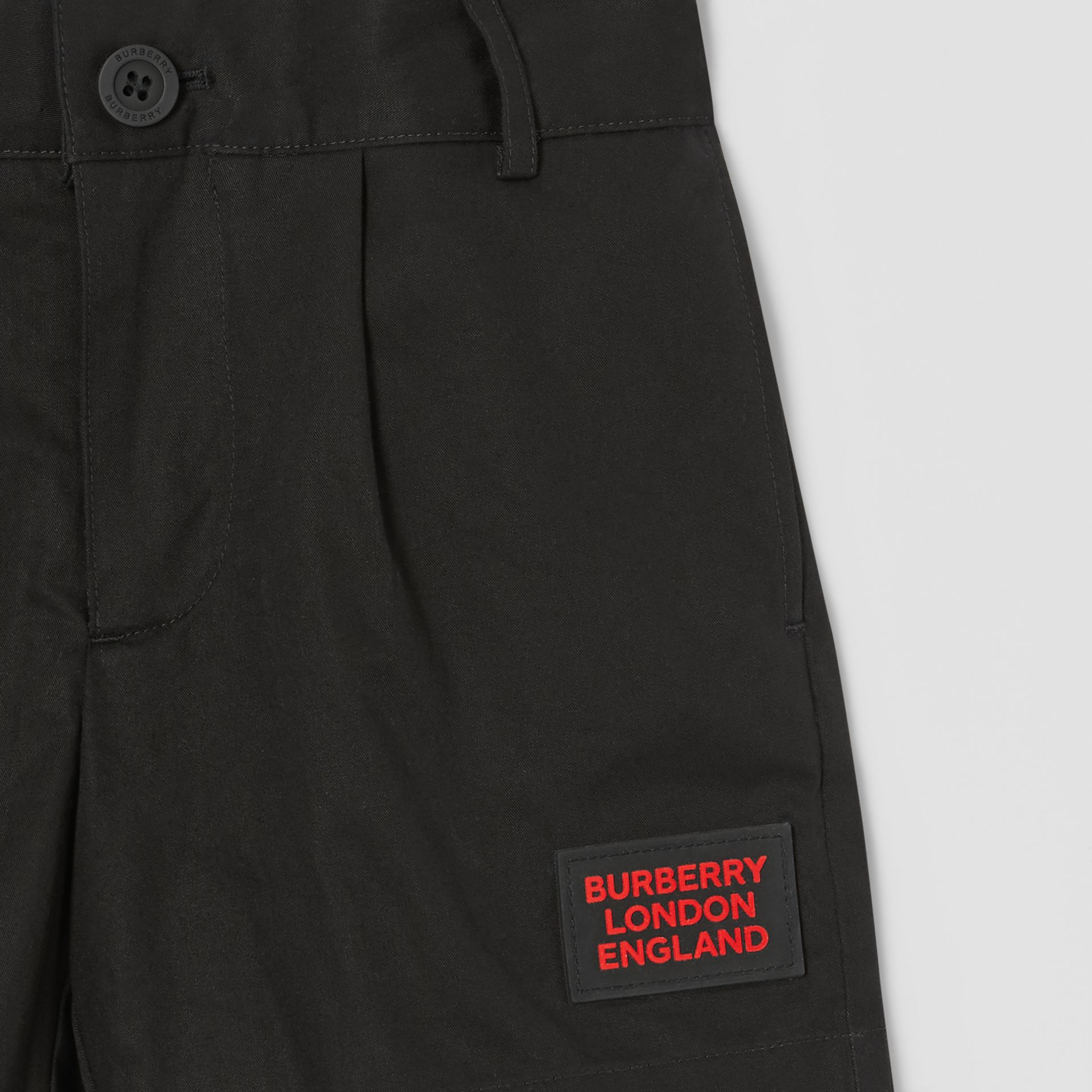 Logo Appliqué Cotton Twill Tailored Shorts in Black | Burberry - gallery image 3