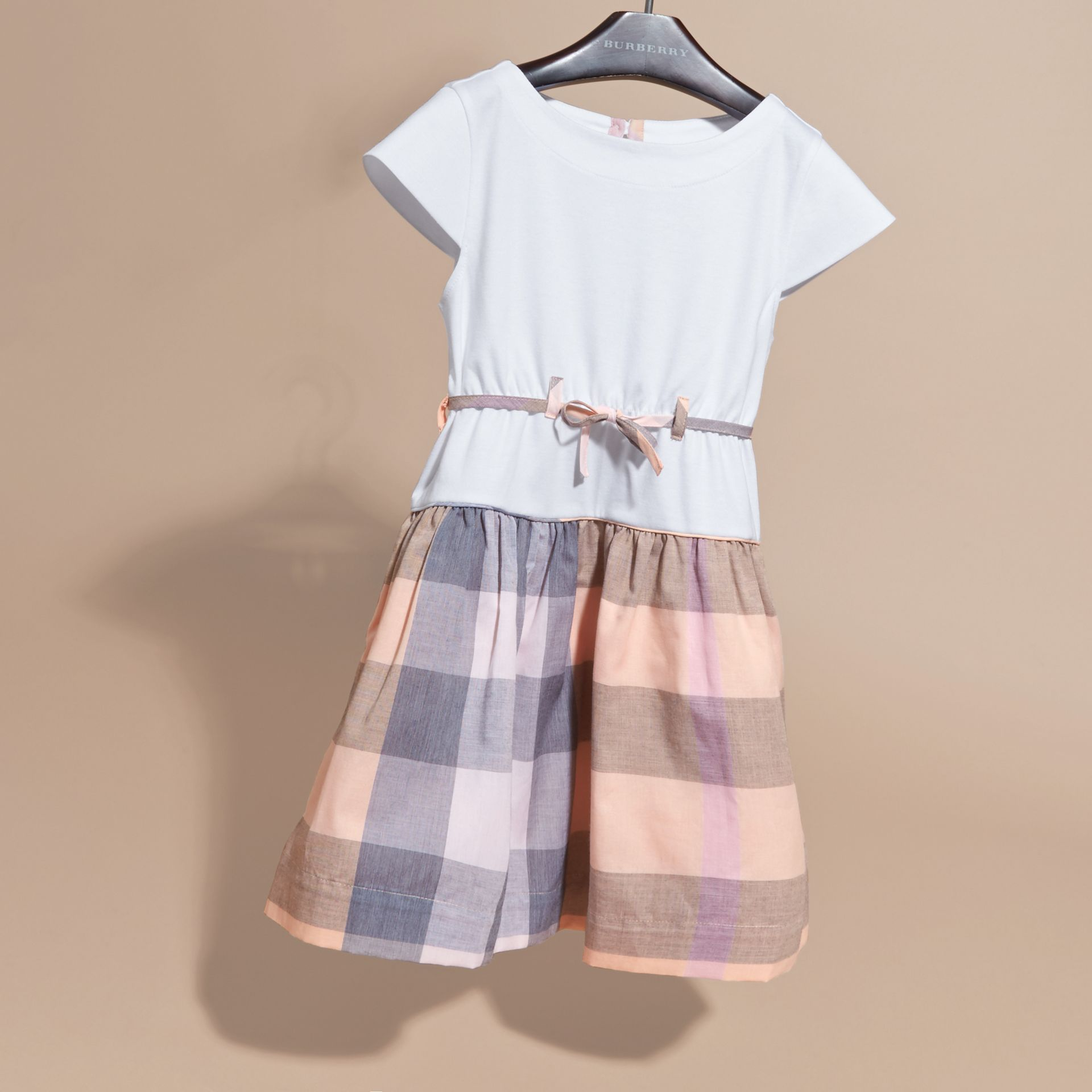Check Cotton Dress with Cap Sleeves in Apricot - Girl | Burberry - gallery image 3
