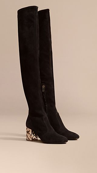 Check Heel Suede Over-the-knee Boots