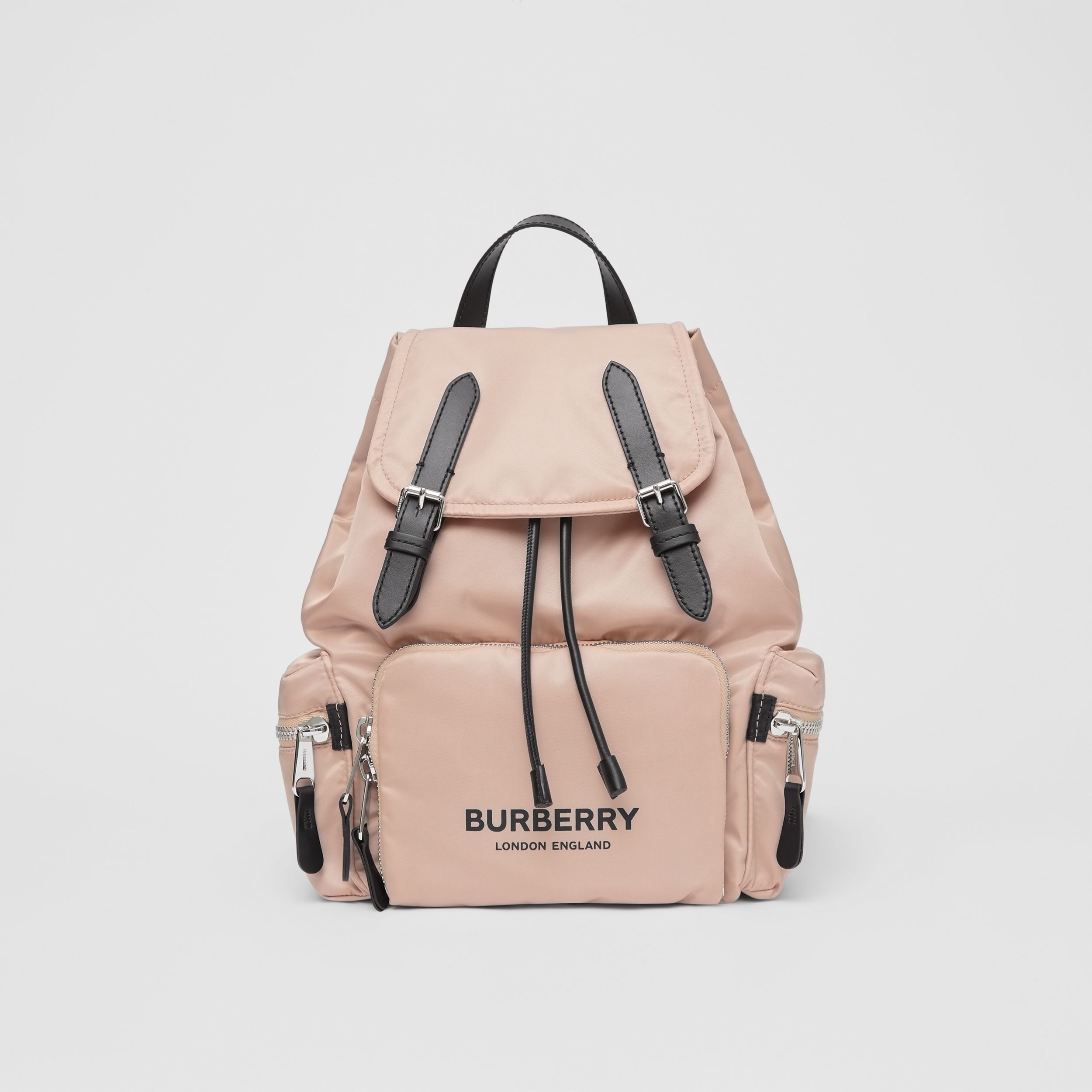 The Medium Rucksack in Logo Print ECONYL® in Rose Beige - Women | Burberry - 1
