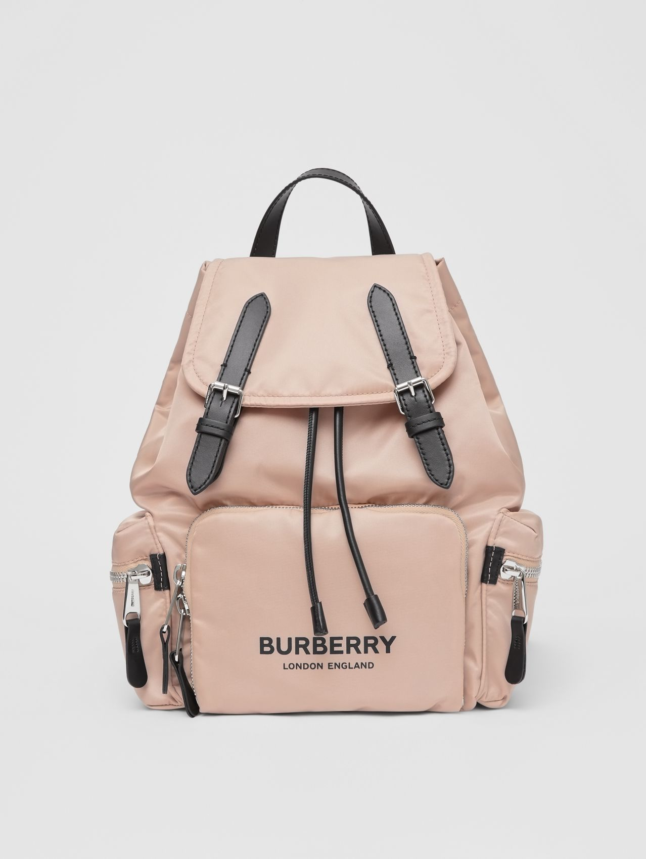 The Medium Rucksack in Logo Print ECONYL® (Rose Beige)