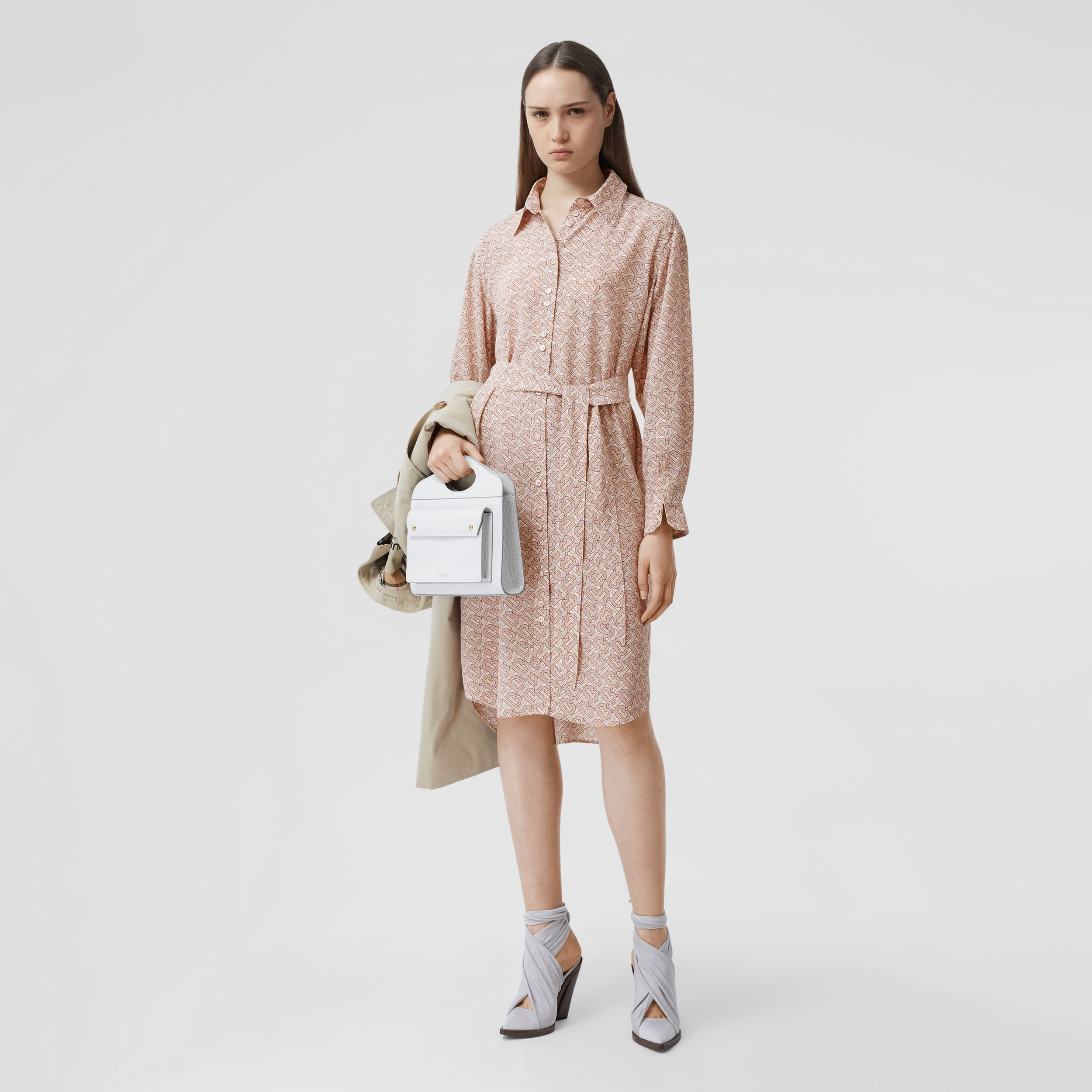 Monogram Print Silk Crepe De Chine Shirt Dress in Pale Copper Pink - Women | Burberry - 1