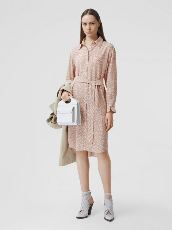 Monogram Print Silk Crepe De Chine Shirt Dress in Pale Copper Pink