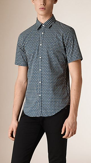 Short-sleeved Printed Cotton Silk Shirt