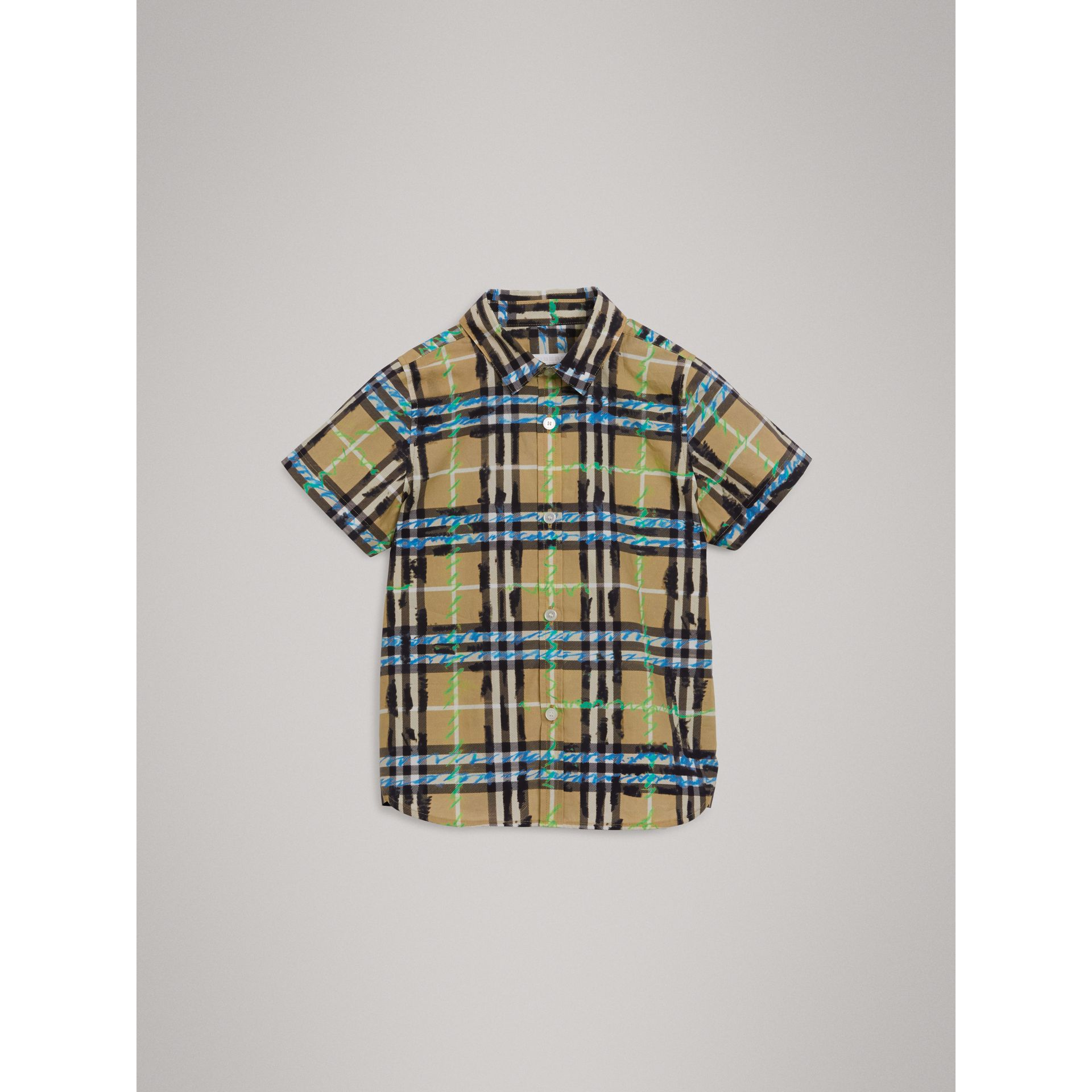 Short-sleeve Scribble Check Cotton Shirt in Bright Blue - Boy | Burberry - gallery image 2