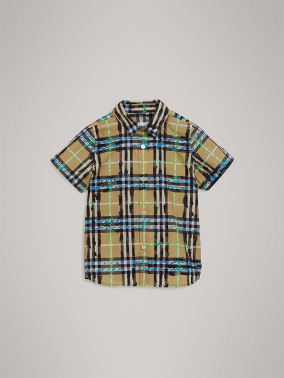 Short-sleeve Scribble Check Cotton Shirt in Bright Blue - Boy | Burberry - cell image 2