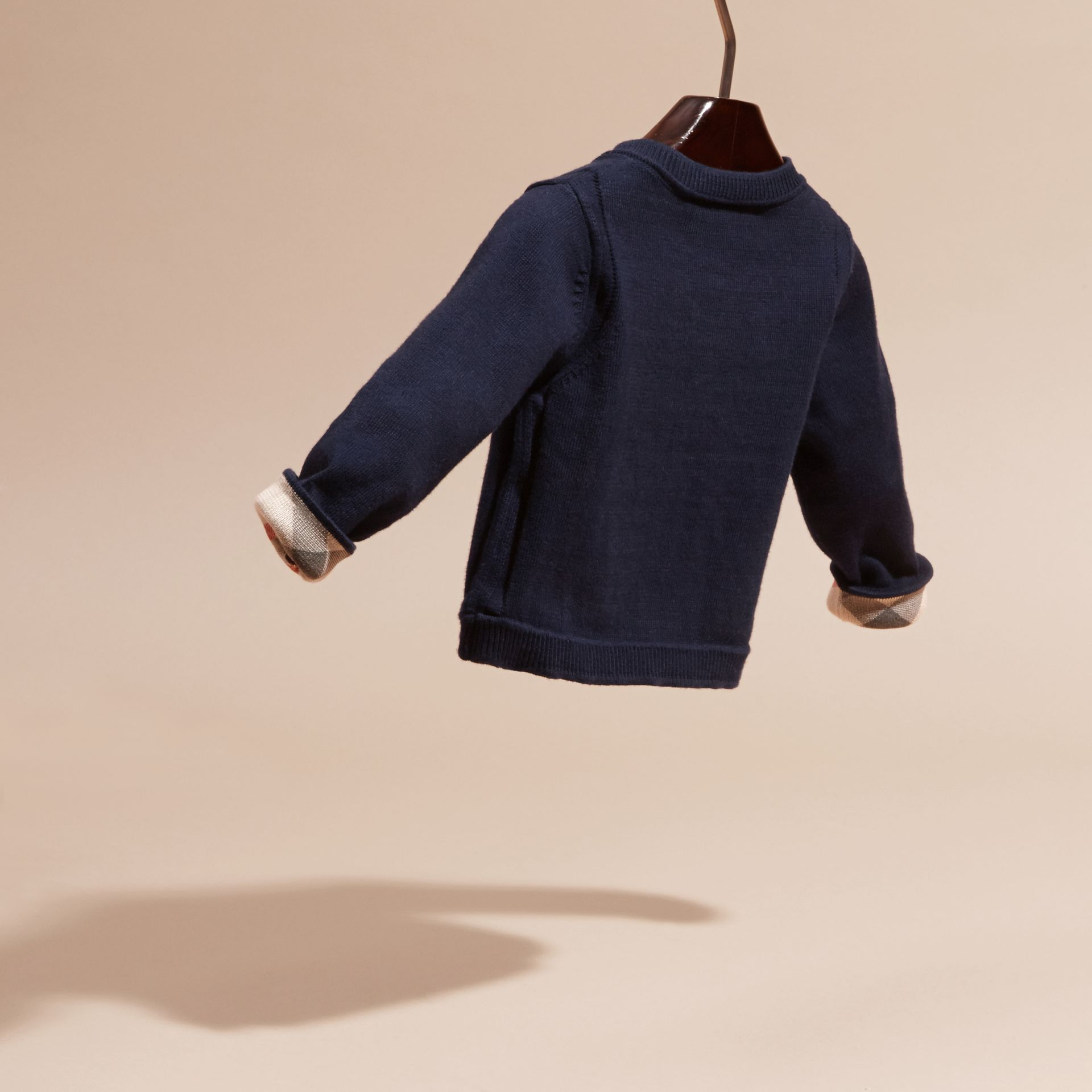 Check Cuff Cotton Cardigan in Navy | Burberry - gallery image 4