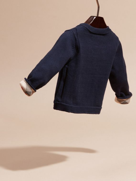 Check Cuff Cotton Cardigan in Navy | Burberry - cell image 3