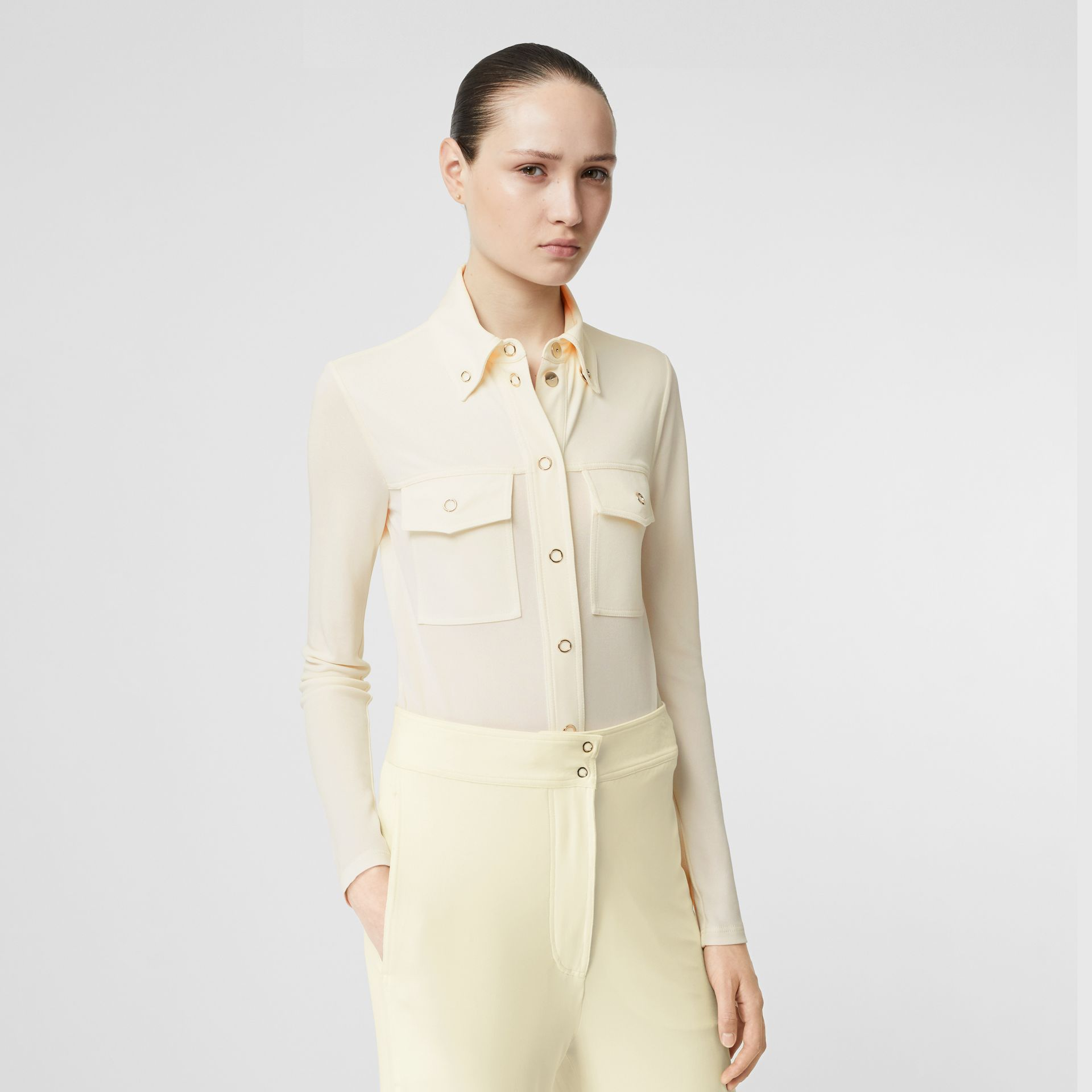 Press-stud Detail Jersey Shirt in Off White - Women | Burberry - gallery image 0