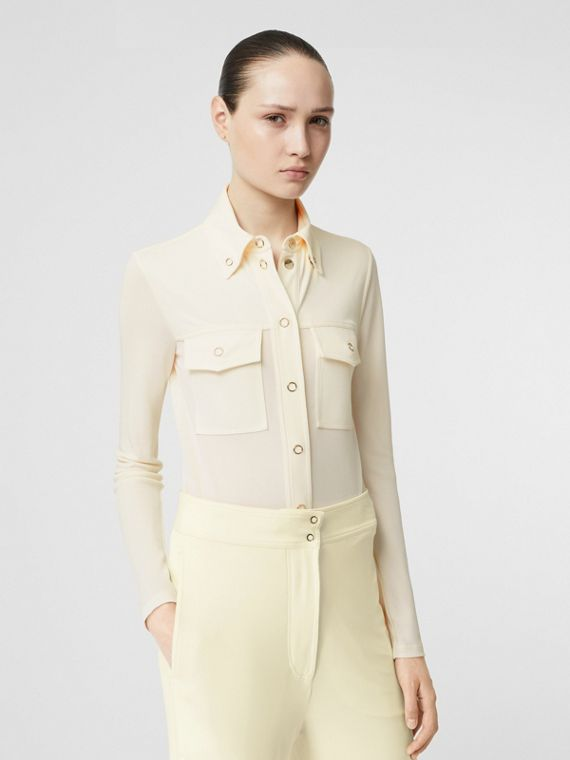 Press-stud Detail Jersey Shirt in Off White