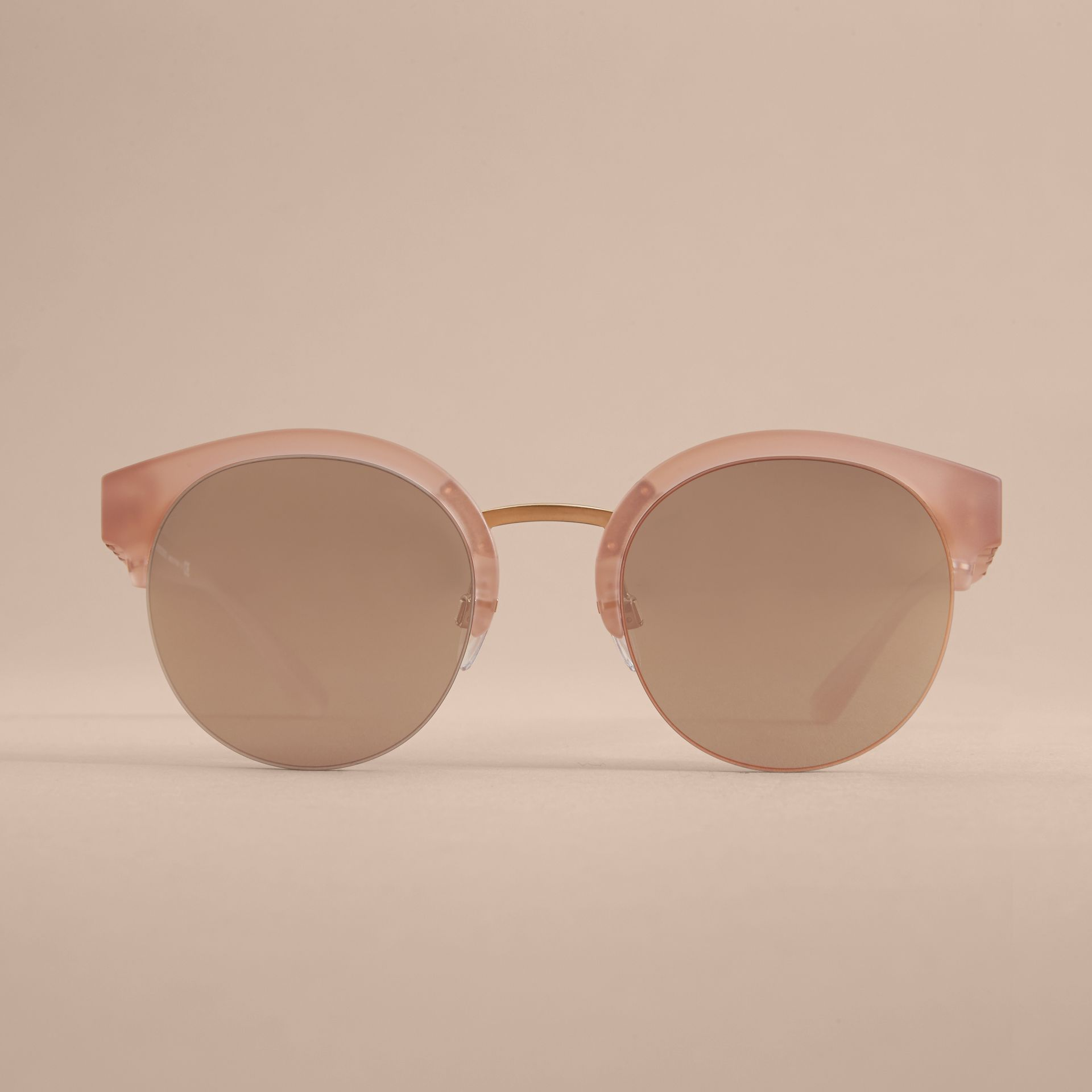 Check Detail Round Half-frame Sunglasses in Nude - Women | Burberry Singapore - gallery image 3