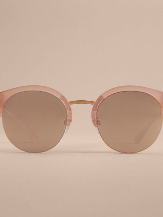 Check Detail Round Half-frame Sunglasses in Nude - Women | Burberry Canada - cell image 2