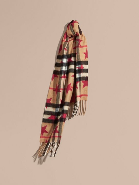 The Mini Classic Cashmere Scarf in Check with Star Print Fuschia - cell image 3