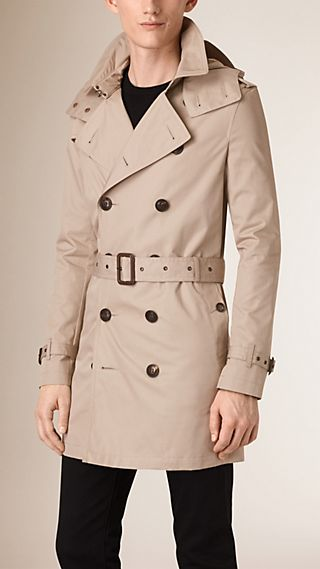 Cotton Trench Coat with Detachable Hood