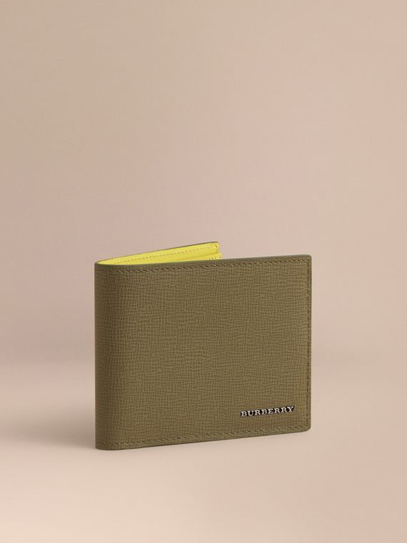 London Leather Slim Folding Wallet in Olive Green
