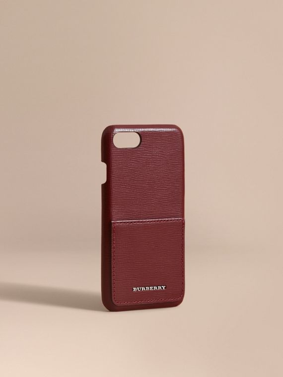 Grainy Leather iPhone 7 Case Burgundy Red
