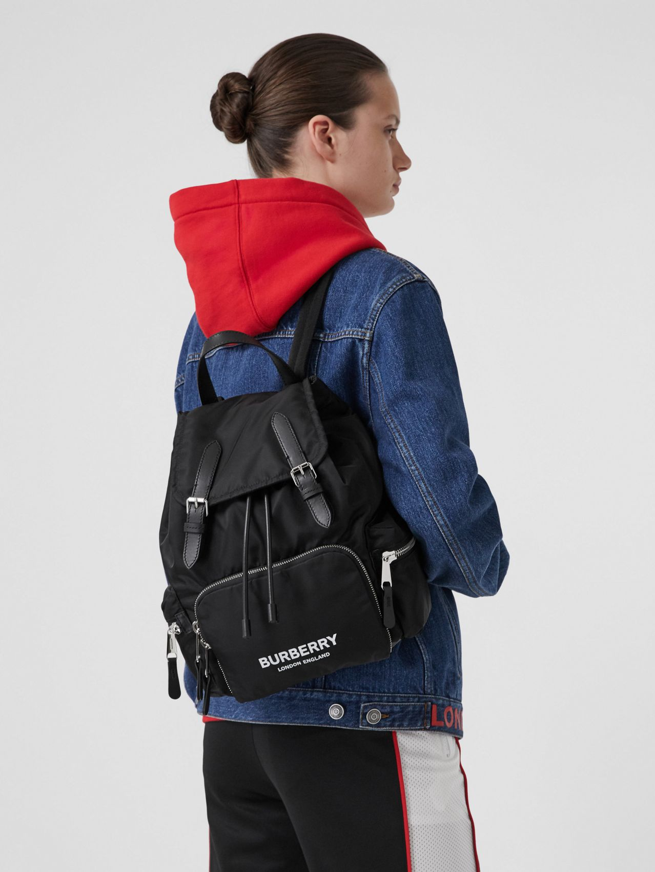 The Medium Rucksack in Logo Print ECONYL® in Black