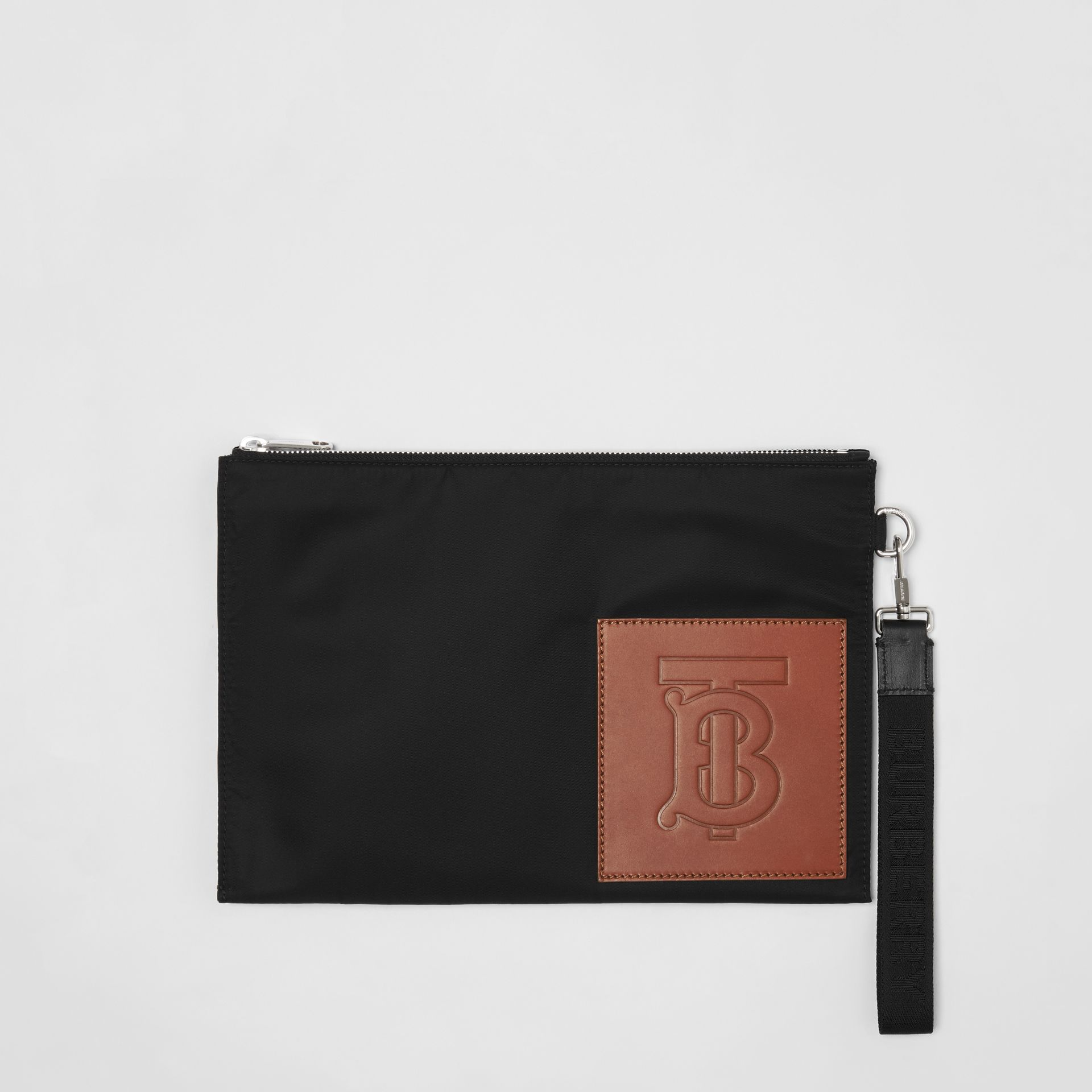 Monogram Motif Zip Pouch in Black | Burberry Canada - gallery image 0