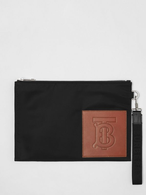 Monogram Motif Zip Pouch in Black
