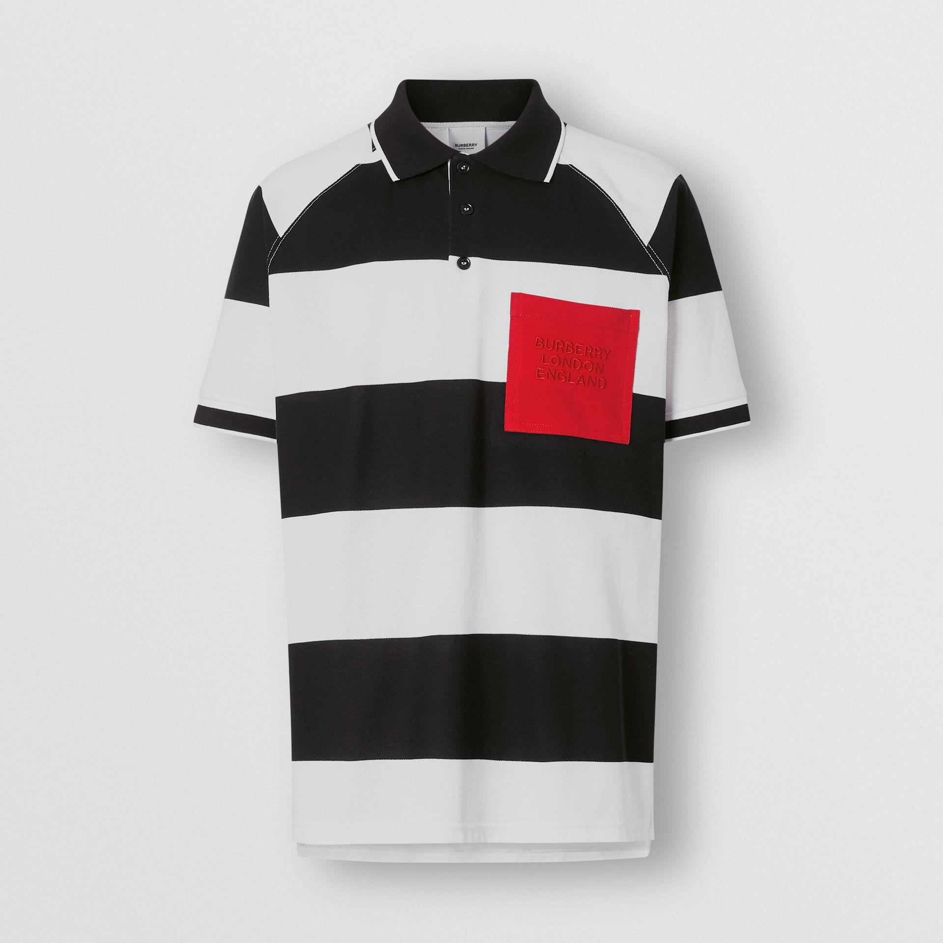 Rugby Stripe Tipped Cotton Piqué Oversized Polo Shirt in Black/white - Men | Burberry United Kingdom - gallery image 3