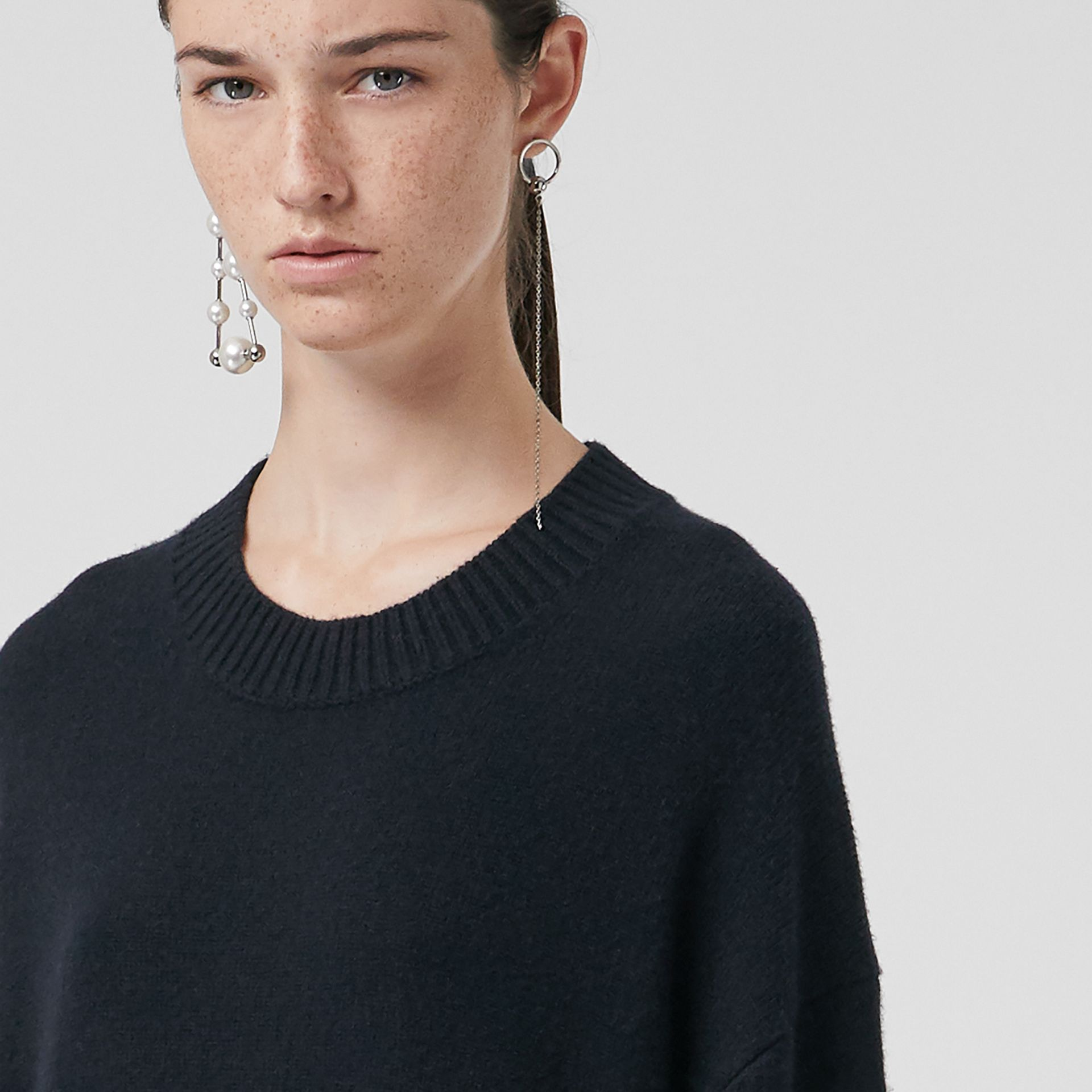 Cashmere Sweater Dress in Navy - Women | Burberry United Kingdom - gallery image 1