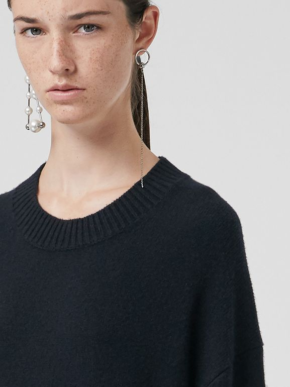 Cashmere Sweater Dress in Navy - Women | Burberry United Kingdom - cell image 1