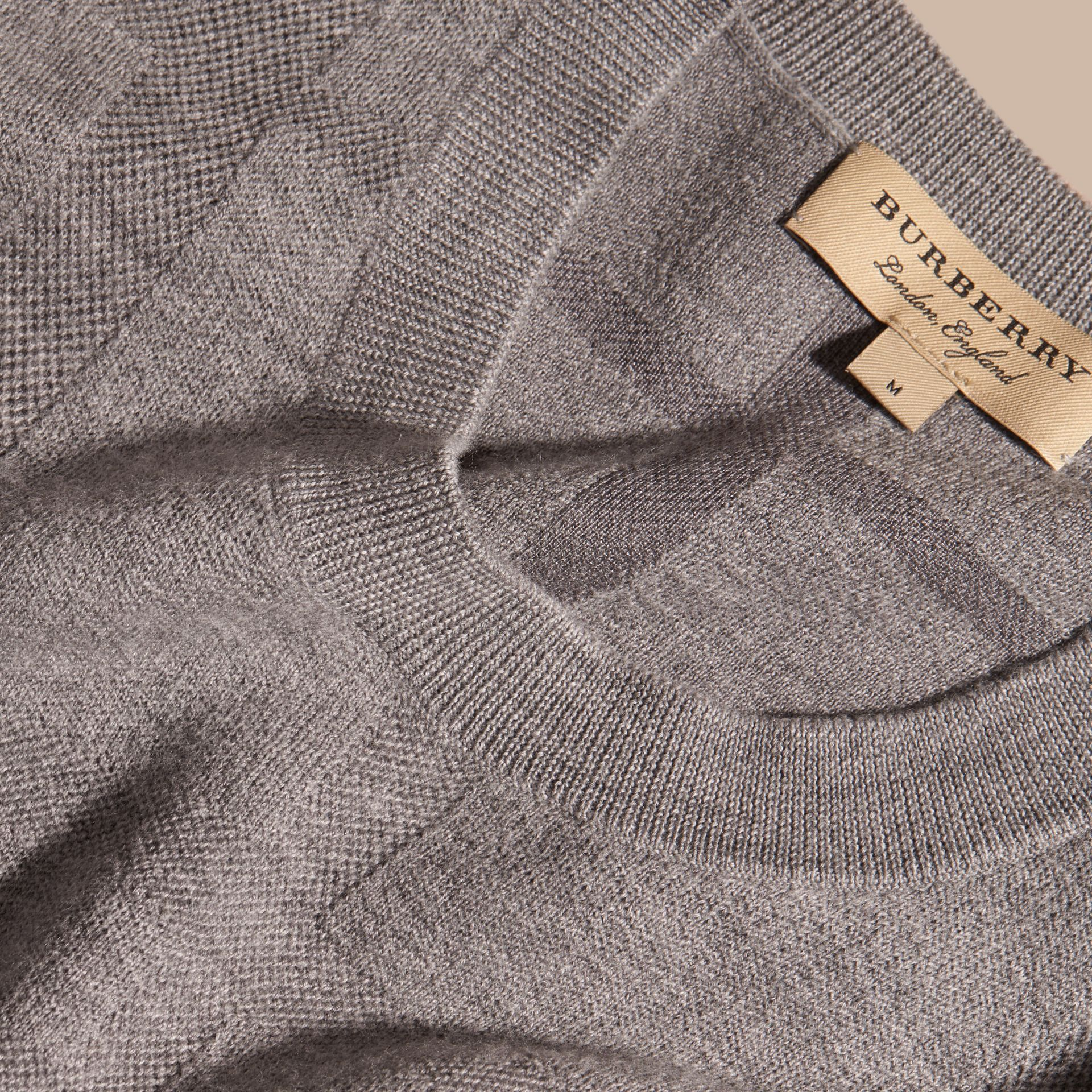 Light grey melange Lightweight Check Jacquard Silk Wool Sweater - gallery image 2