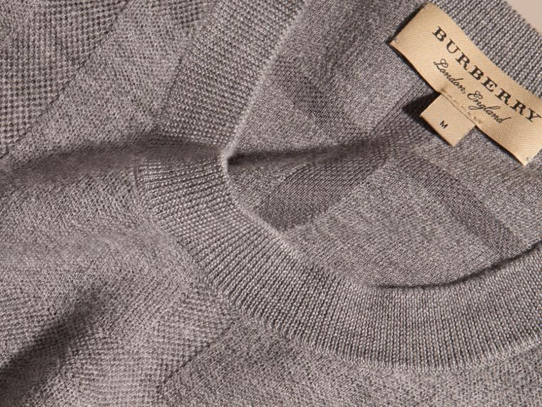 Light grey melange Lightweight Check Jacquard Silk Wool Sweater - cell image 1
